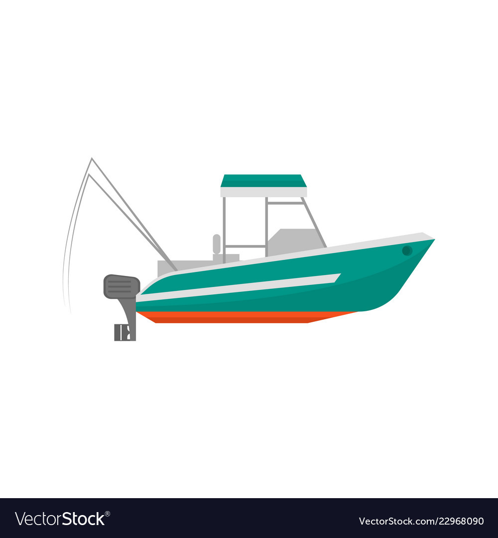 Cartoon Fishing Boat Icon On A White Royalty Free Vector