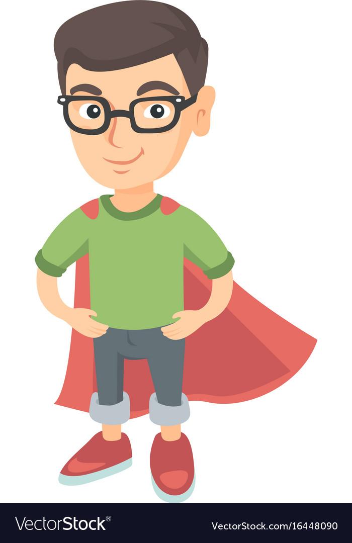 Caucasian brave boy wearing superhero costume