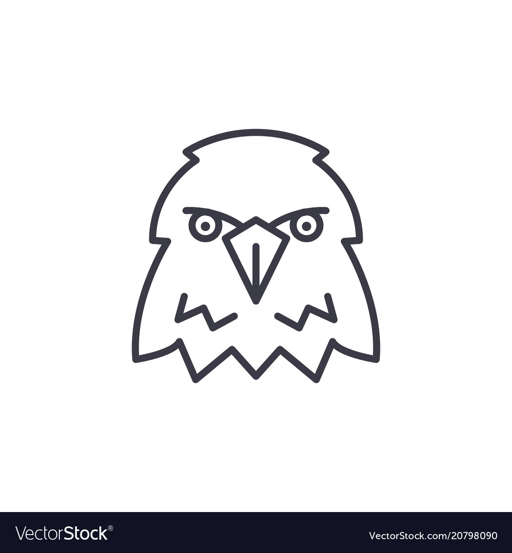 Eagle head line icon sign on