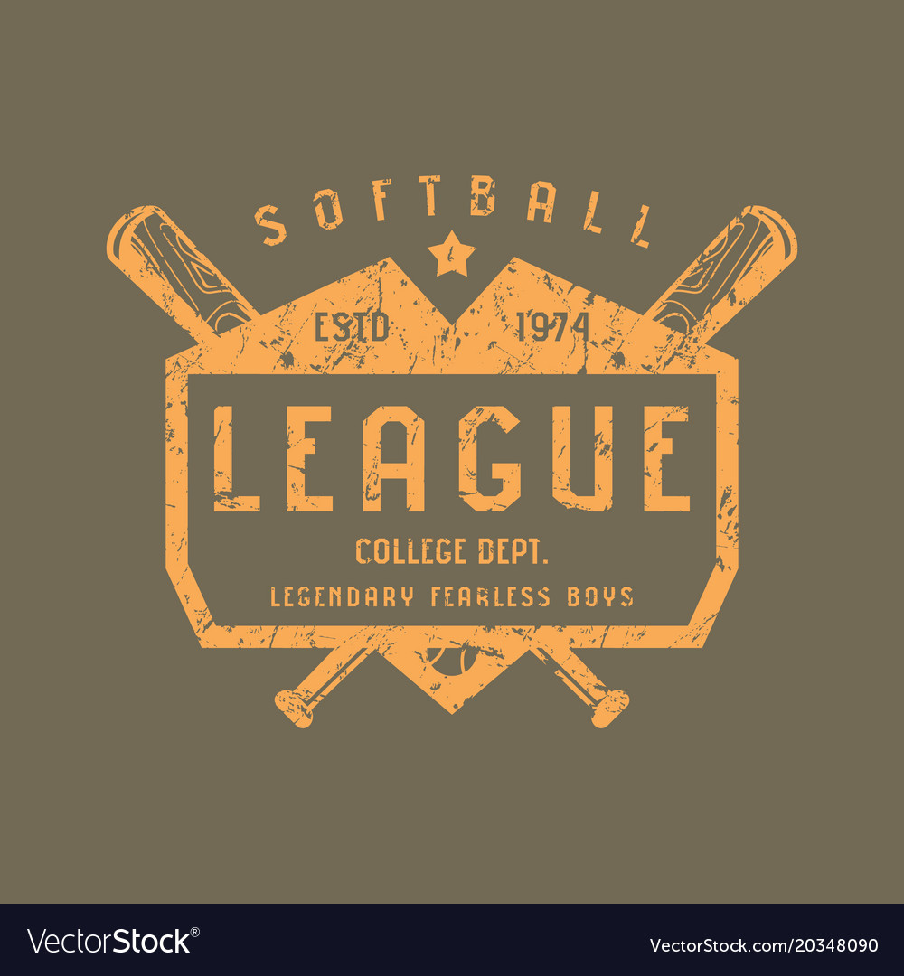 Emblem of softball team vector image
