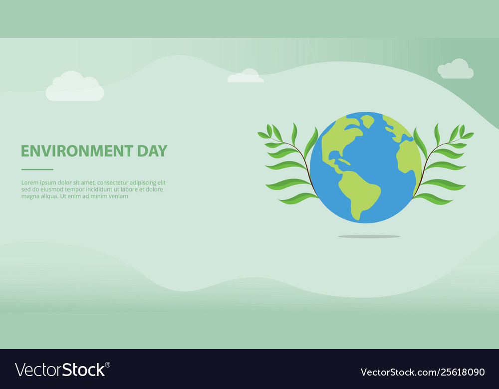 Environment day concept with big earth and green