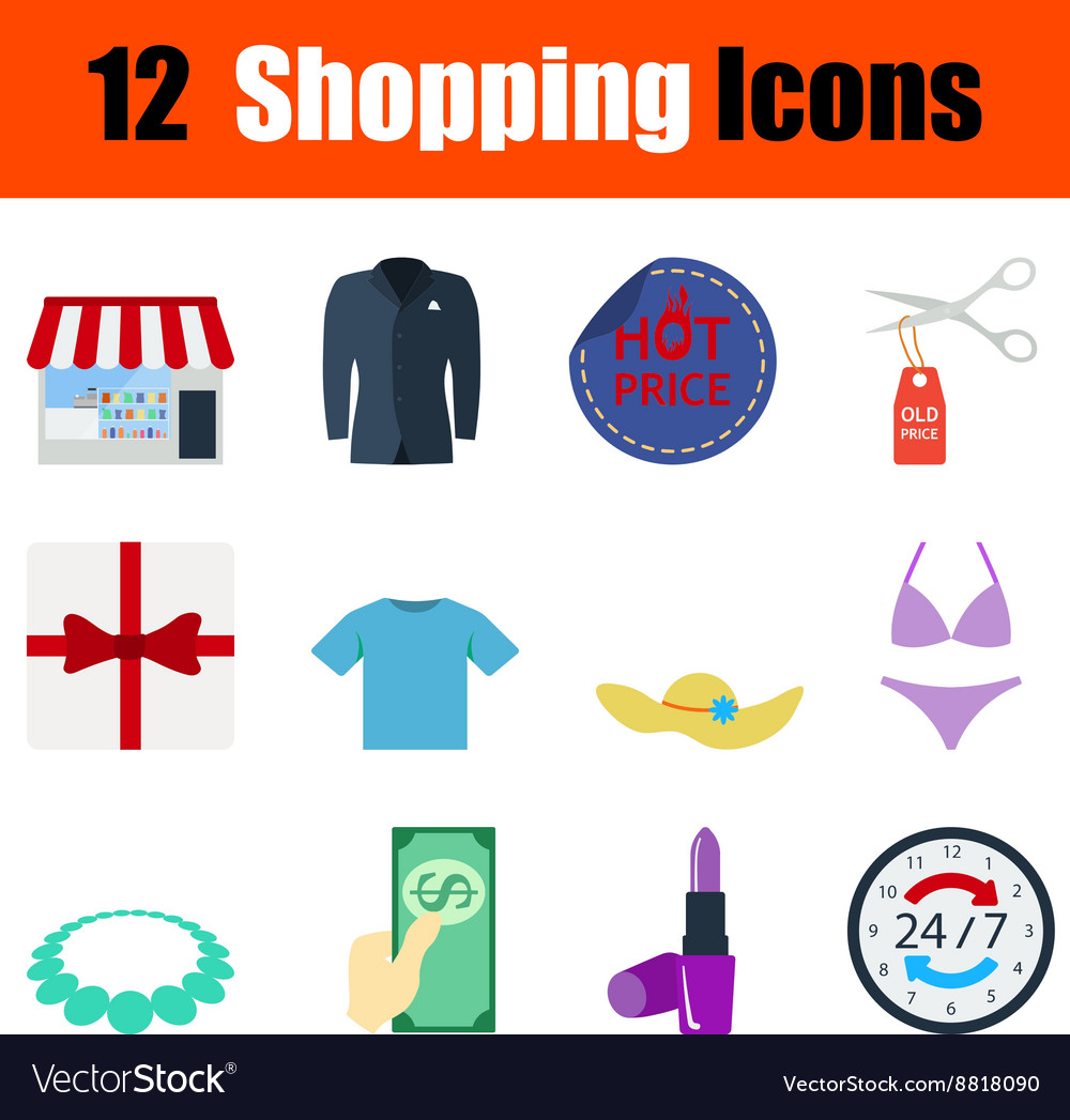 Flat design shopping icon set