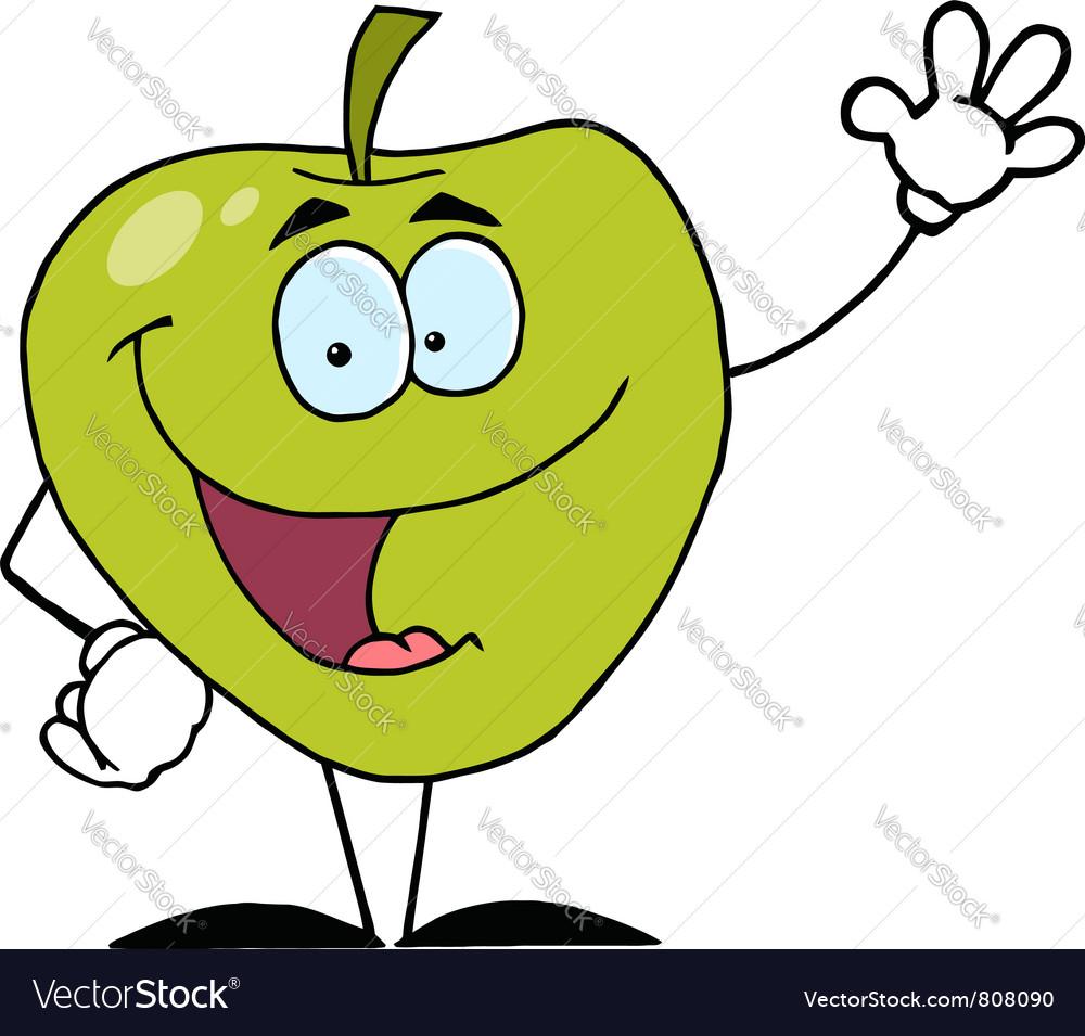 Friendly Green Apple Character Waving vector image