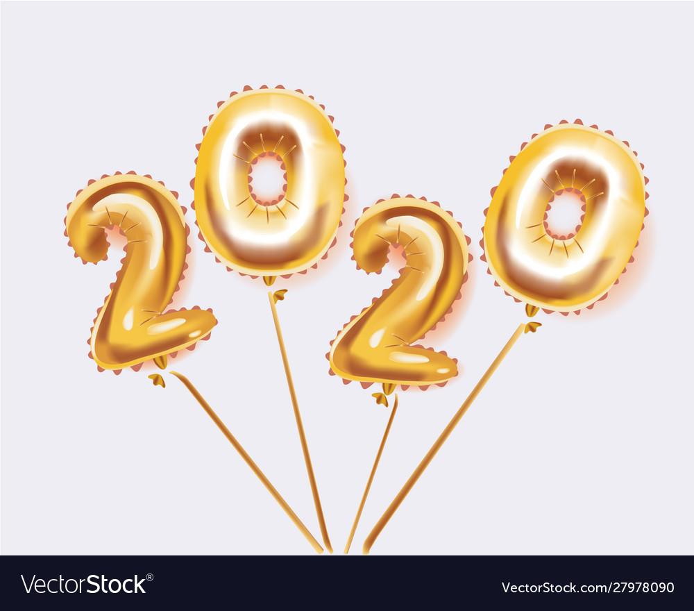 Happy new year metallic gold balloons 2020