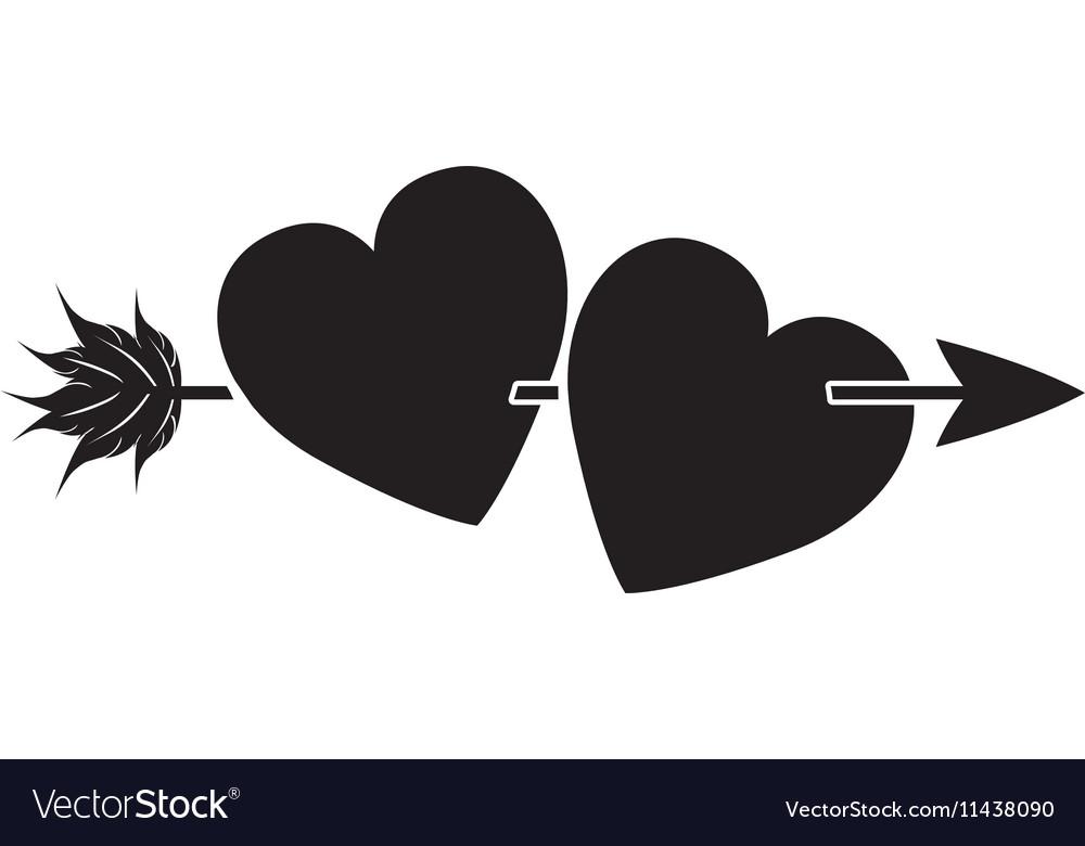 Heart with arrow icon vector image