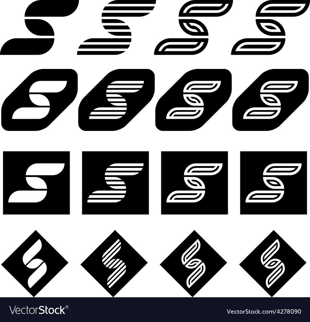Ornate Letter S Black Symbols Royalty Free Vector Image