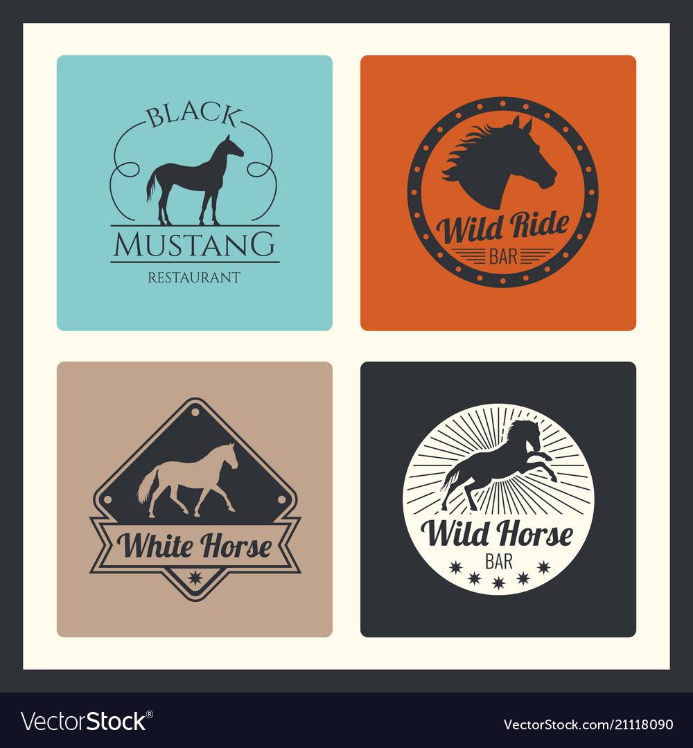 Retro racing horse running mare logos