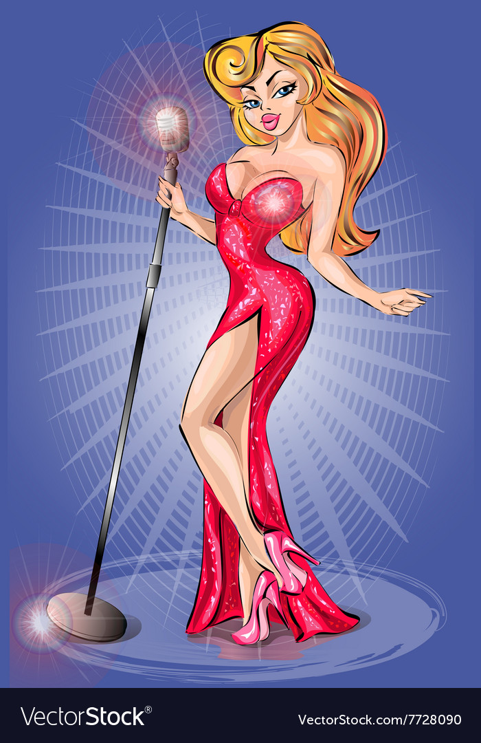 Sexy pin-up girl wearing red dress singing with vector image