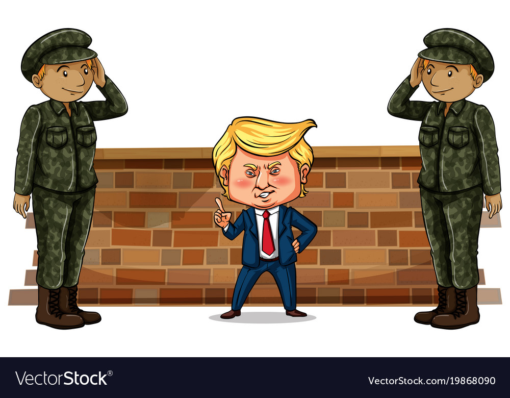Us president trump and two soldiers