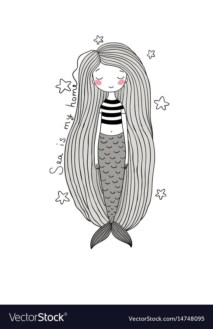 Beautiful Cute Cartoon Mermaid With Long Hair Vector Image