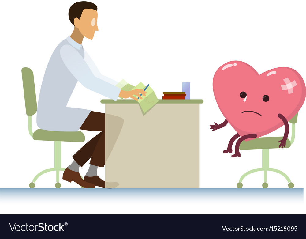 Doctor with diseased heart symbol cartoon - world