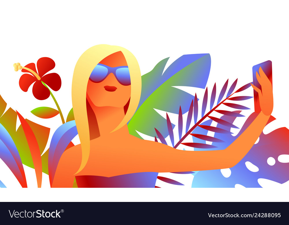 Girl in sunglasses makes selfie