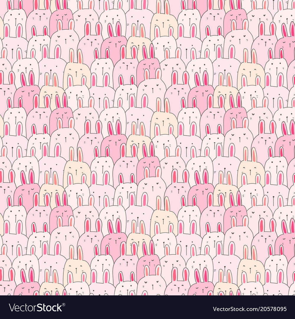 Hand drawn cute bunny pattern background