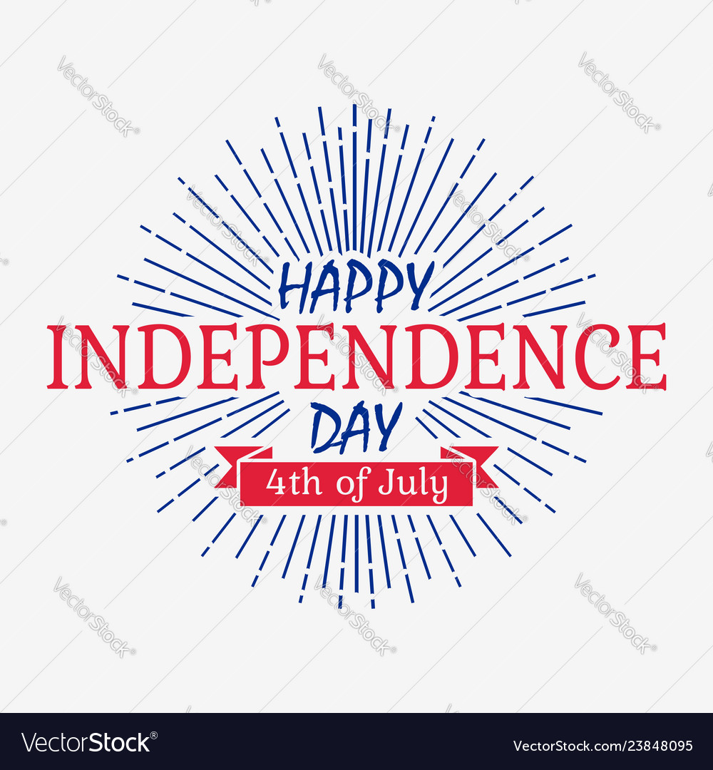 Happy independence day card with ribbon sunburst