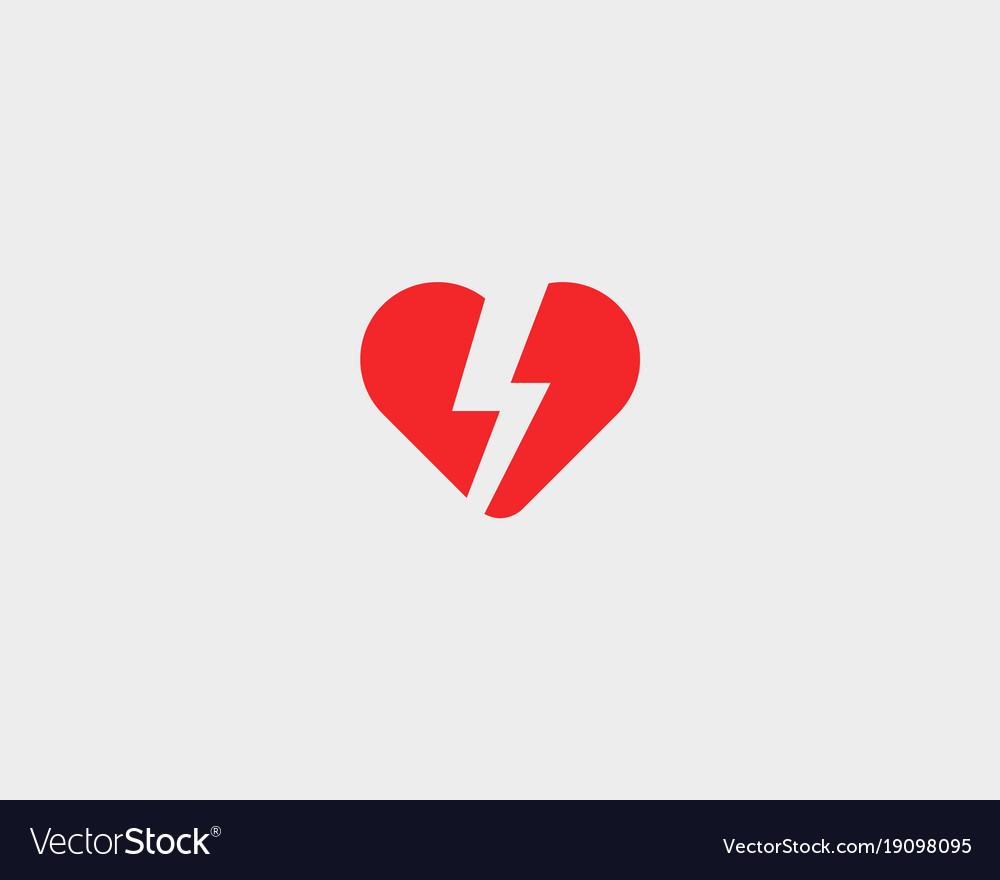 Heart thunderbolt logotype love flash logo