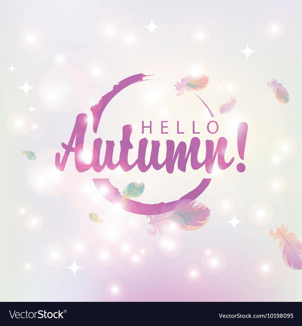 Hello autumn on abstract pink background