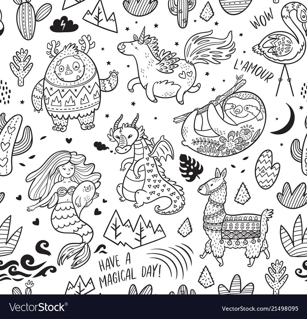 Ink seamless pattern with yeti unicorn dragon