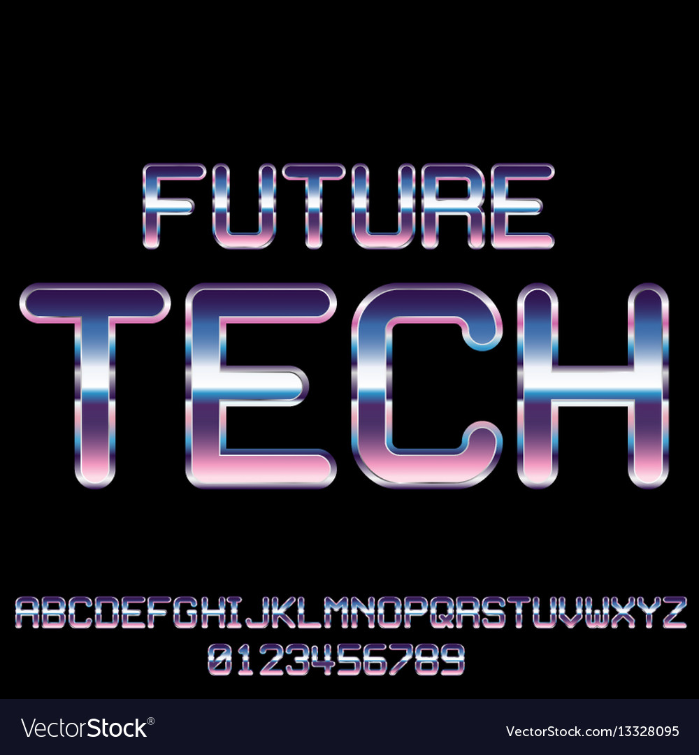 Sci Fi Retro Font Royalty Free Vector Image Vectorstock