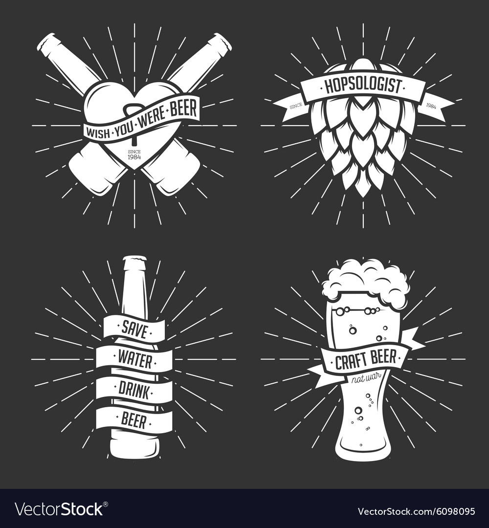 Set of t-shirt beer prints Vintage