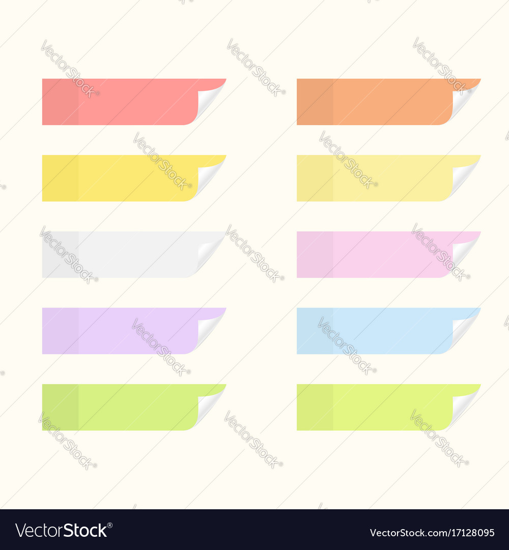 Sticky stickers with flip edges set of notice vector image