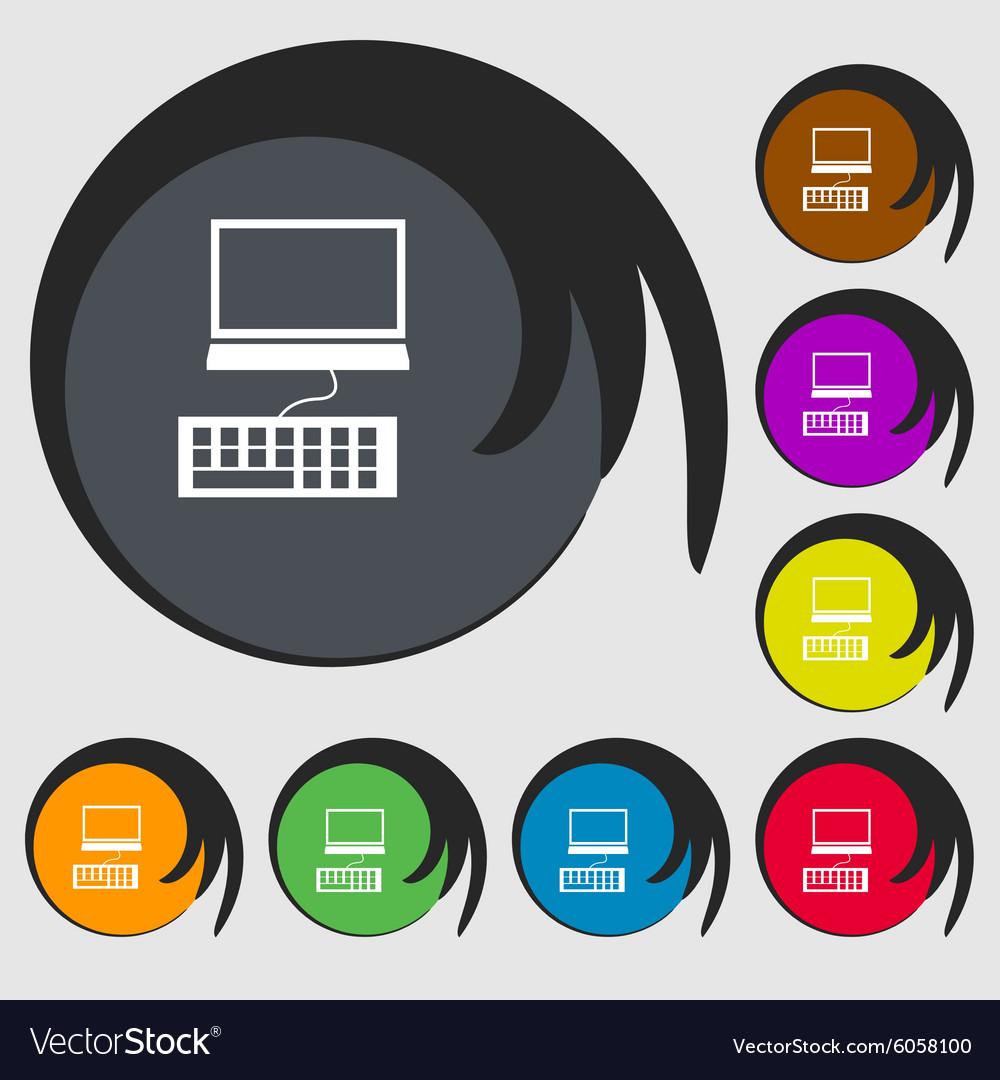 Computer Monitor And Keyboard Icon Symbols On Vector Image