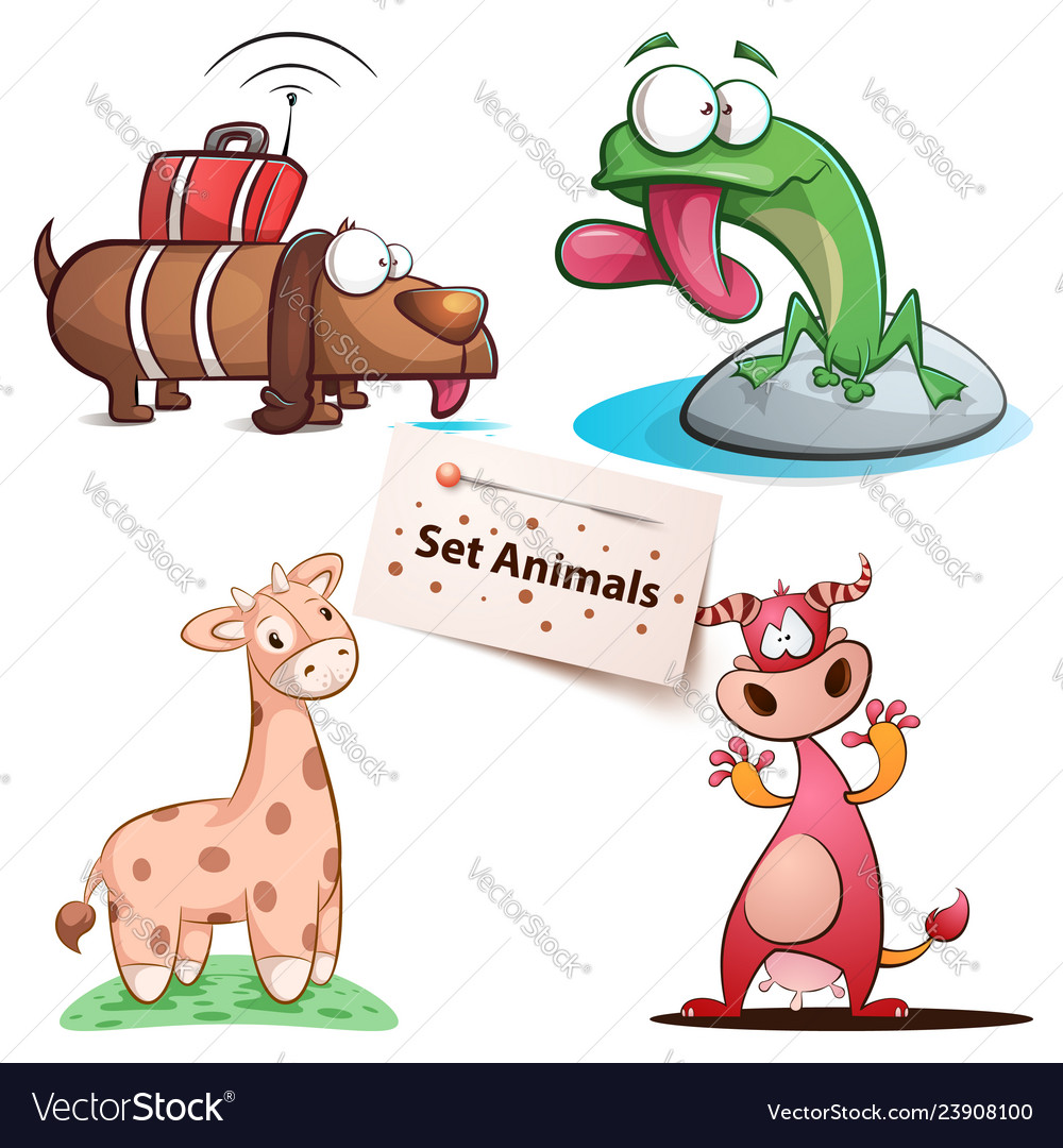Dog frog giraffe cow - set animals