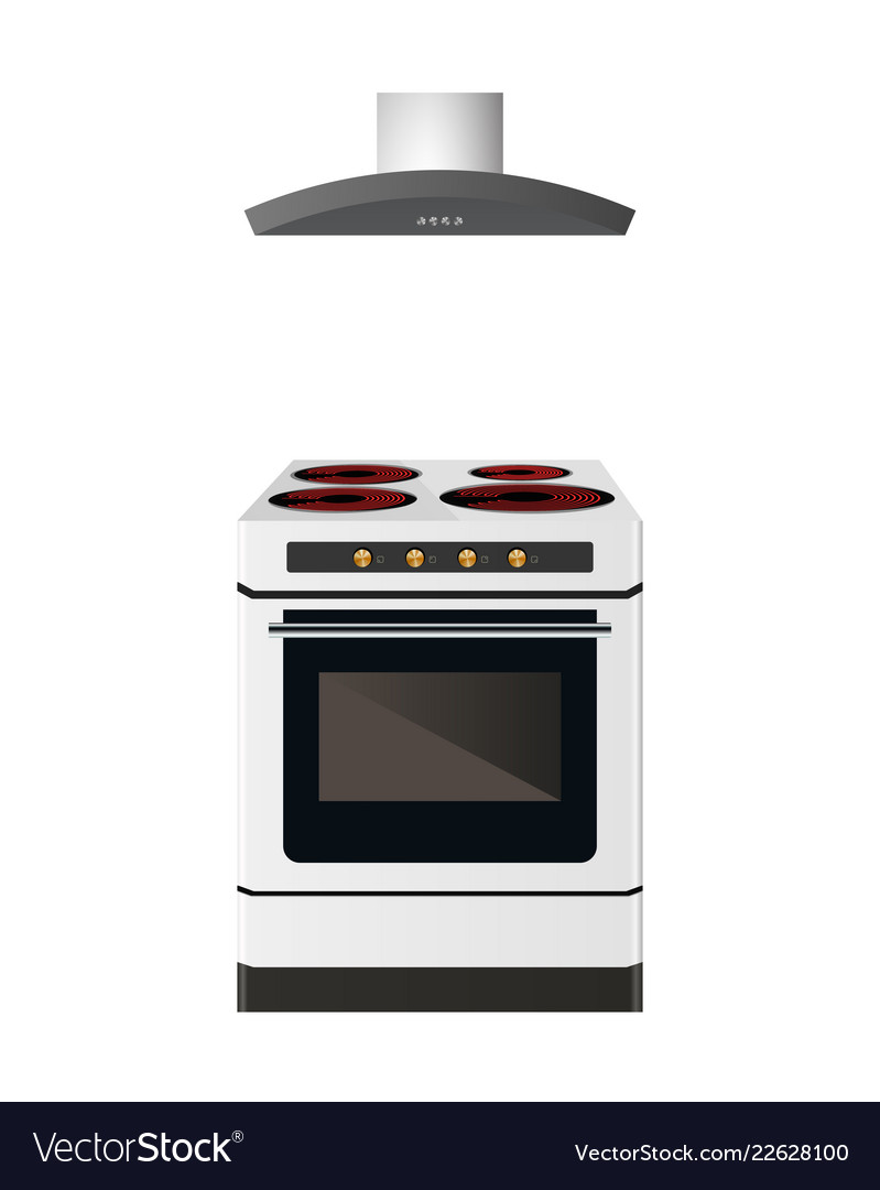 Electric Cooker With Kitchen Hood Vector Image