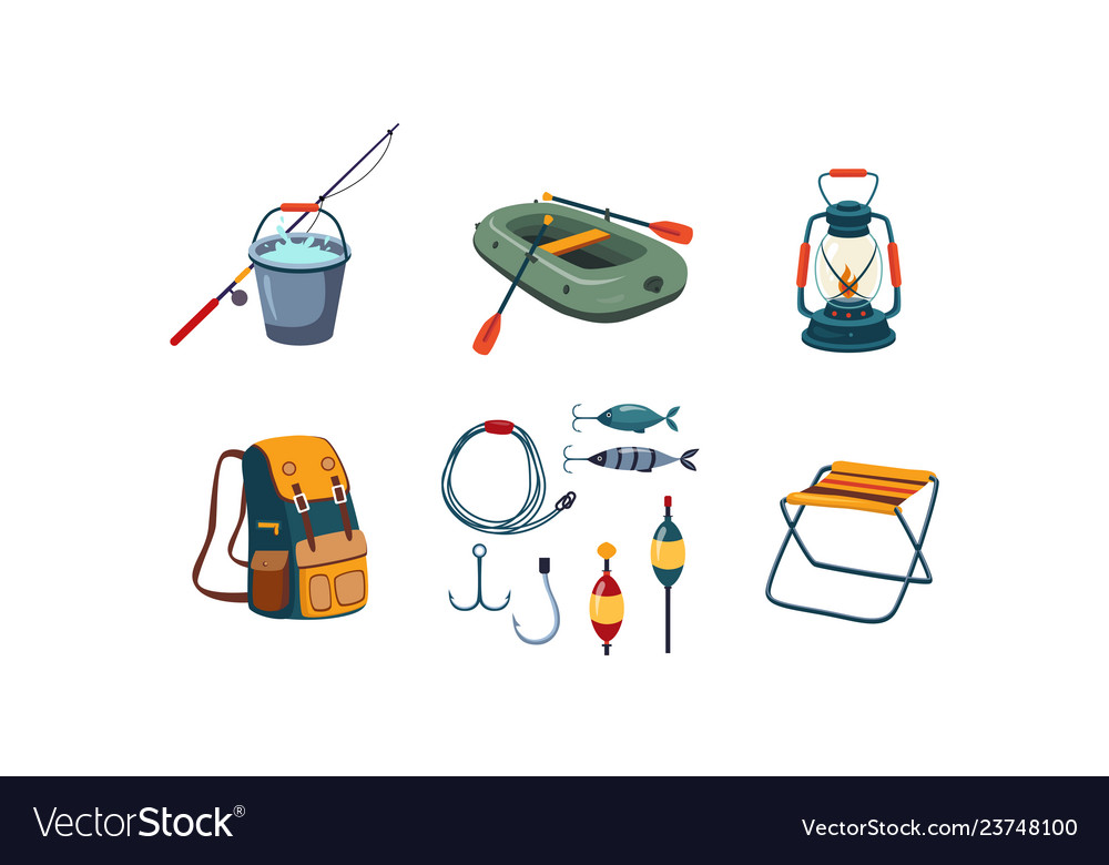 Fishing and camping icons set bucket and fishing