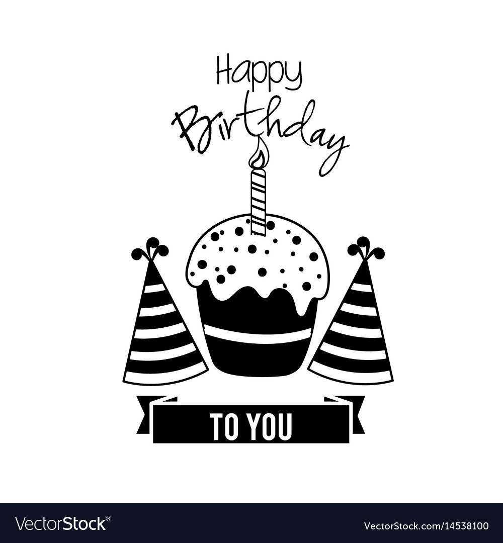 Happy Birthday Cake With Candle And Hats Party Vector Image