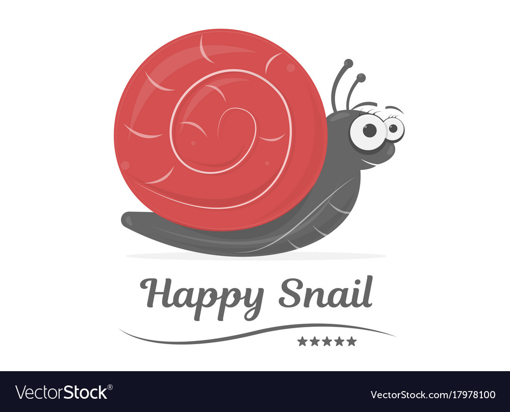 Happy snail isolated on white background cartoon