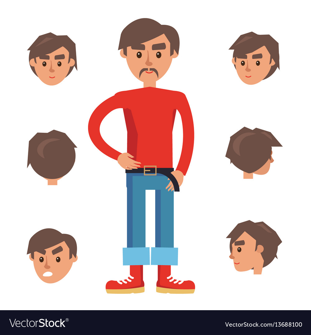Man constructor character with set of six heads