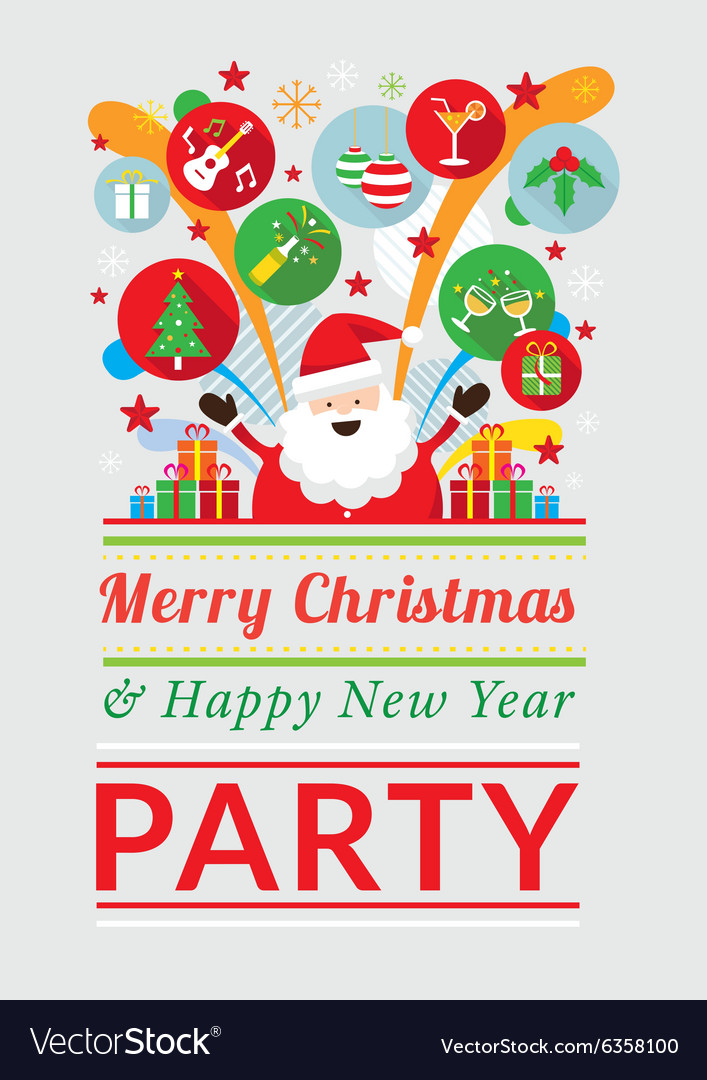 Santa Claus with Party Icons