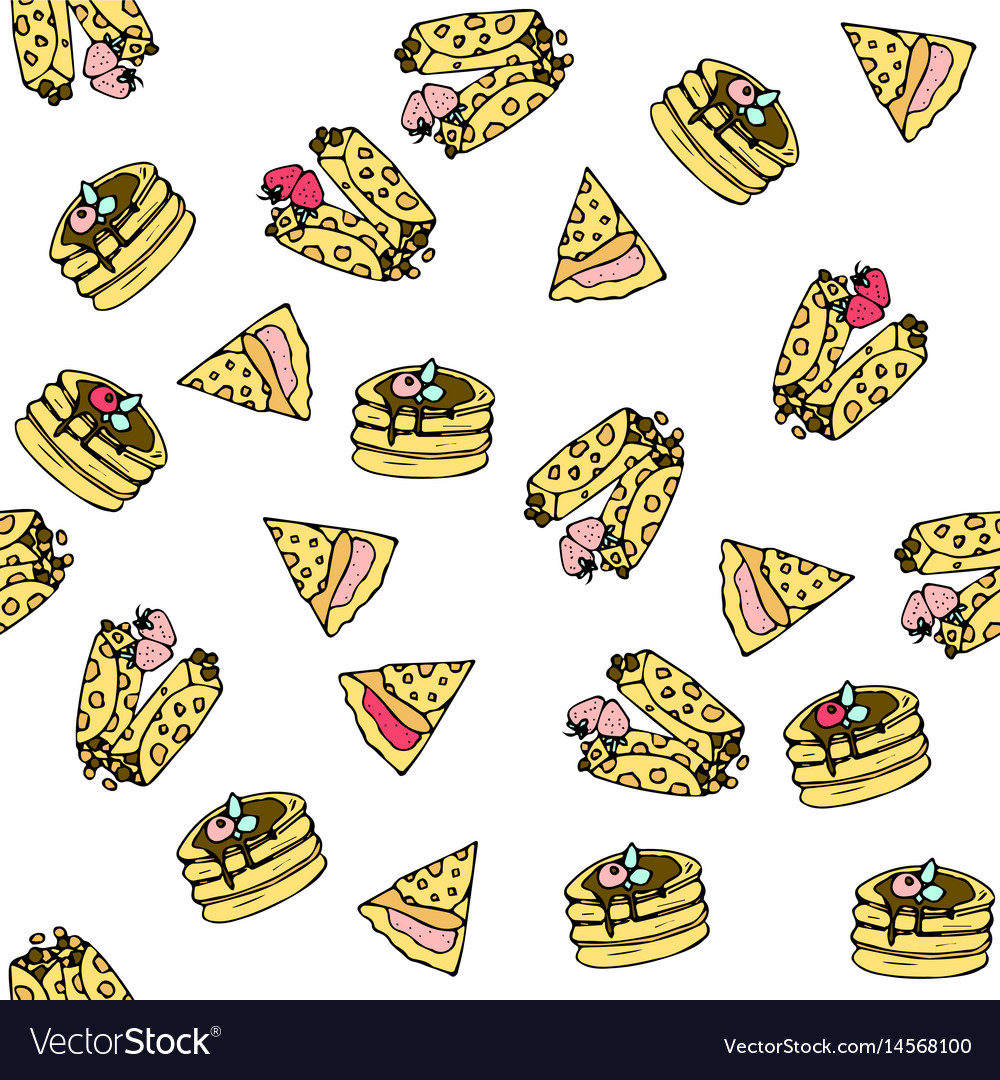 Seamless pattern with doodle sweet pancakes