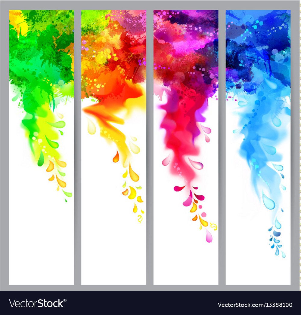 Set four banners abstract headers with colored