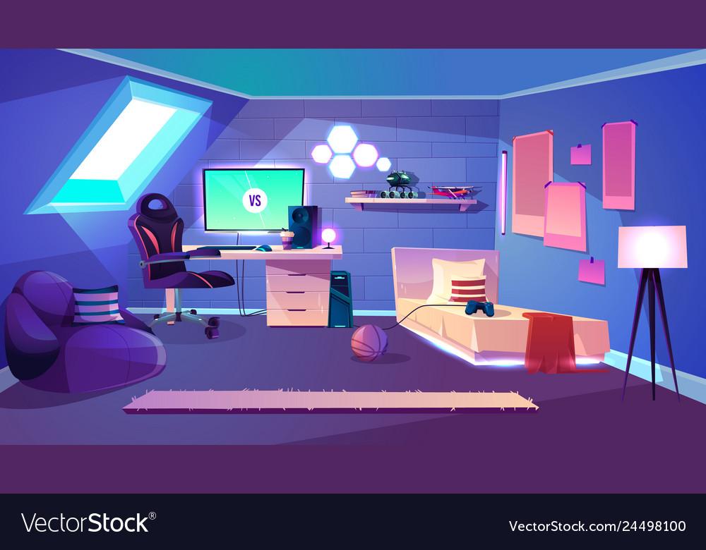 Teenager room on attic cartoon interior