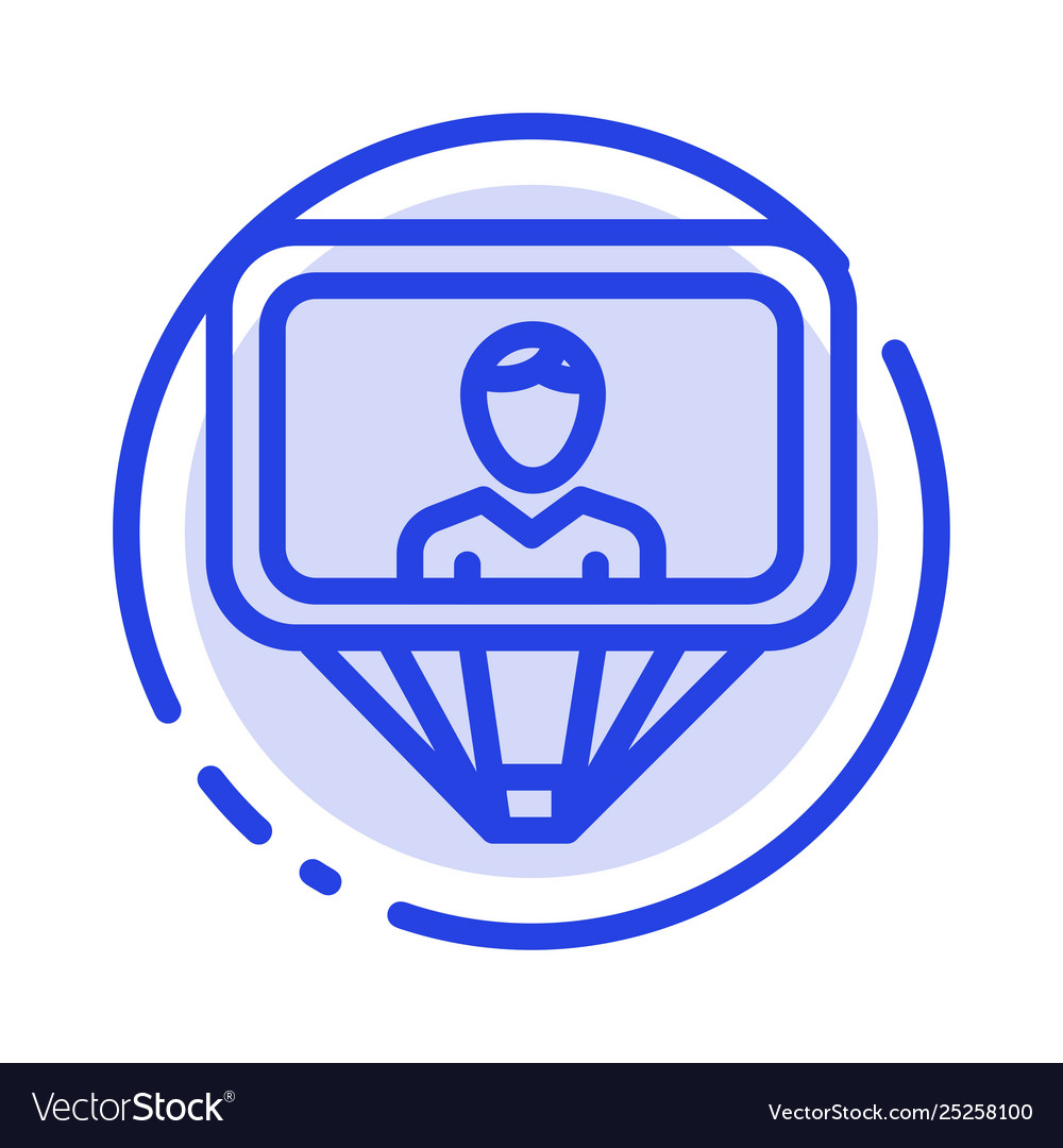 User profile id login blue dotted line line icon