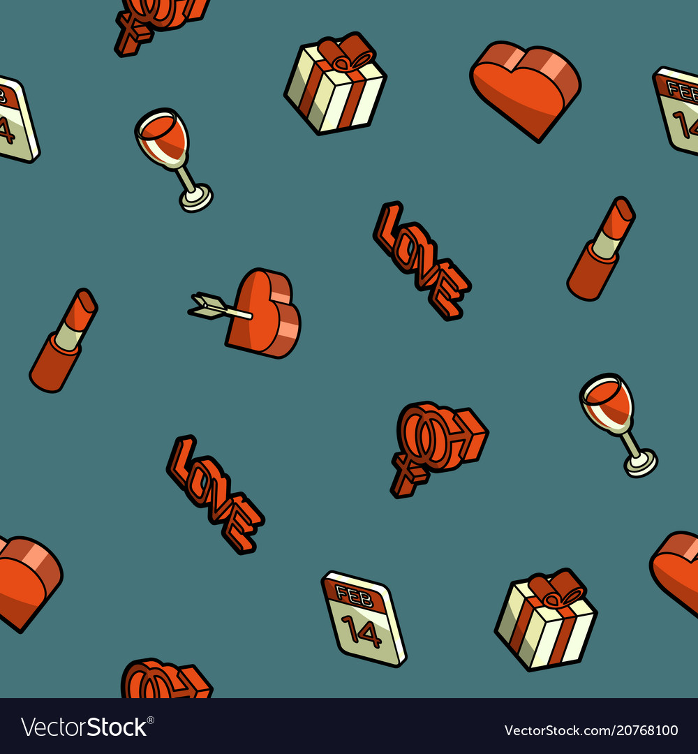 Valentines day color outline isometric pattern vector image