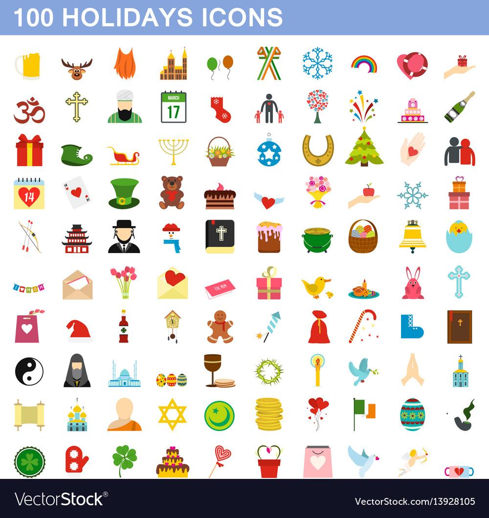 100 holidays icons set flat style