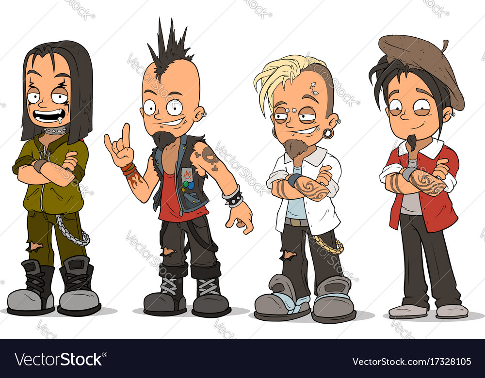 Cartoon punk rock metal guys characters set