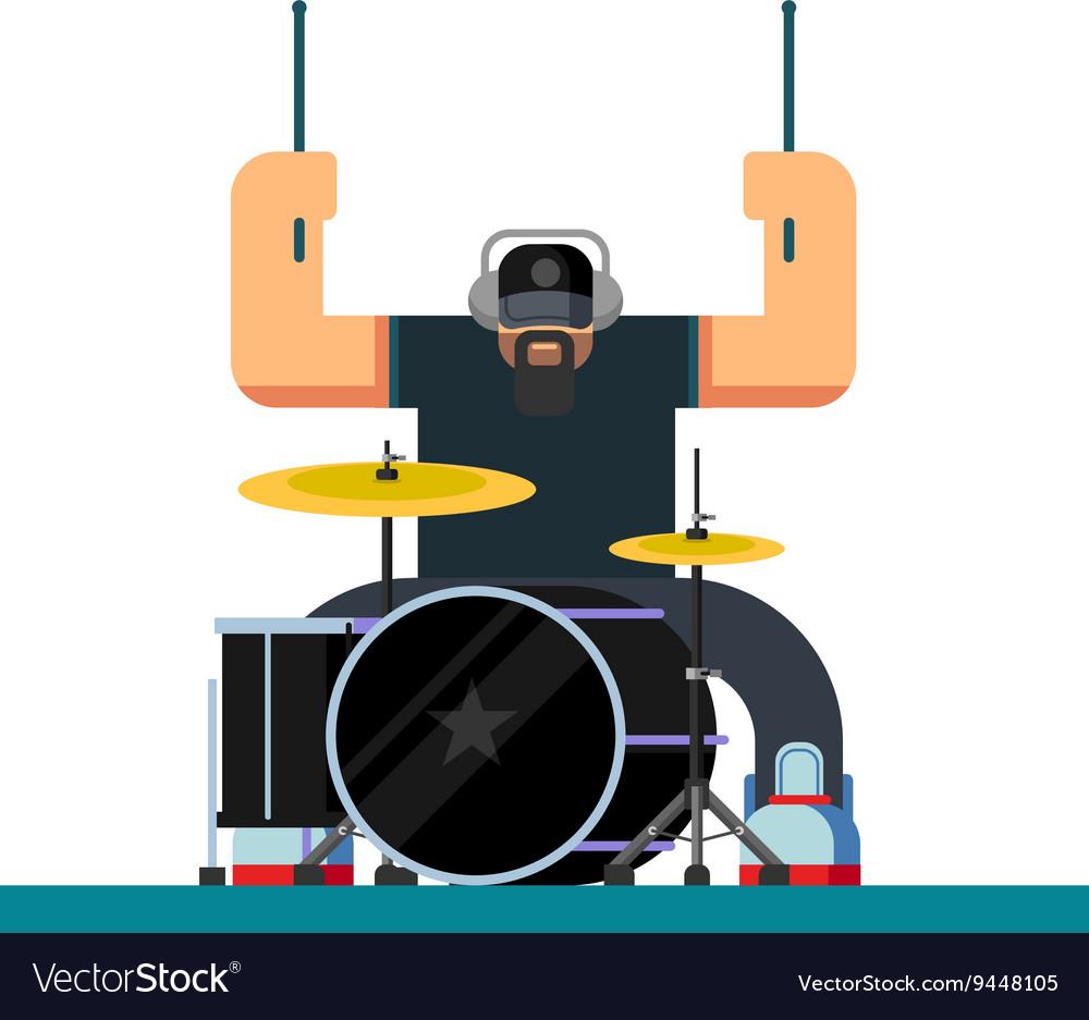 Drummer character flat