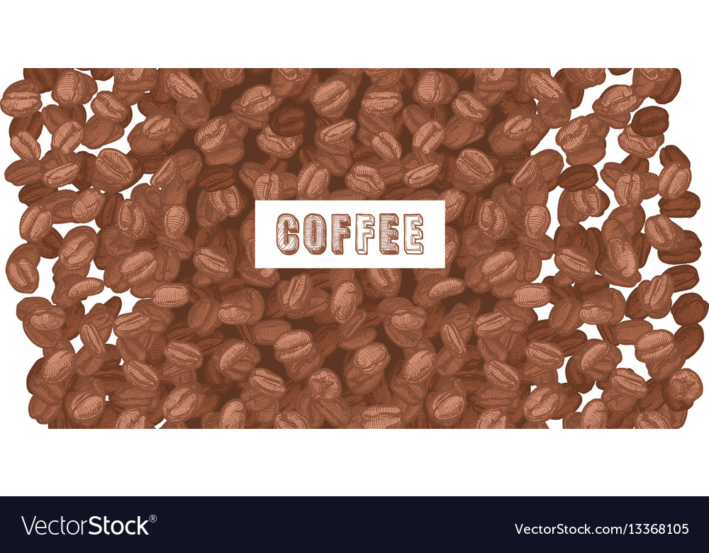 Emblem coffee with coffee beans vector image