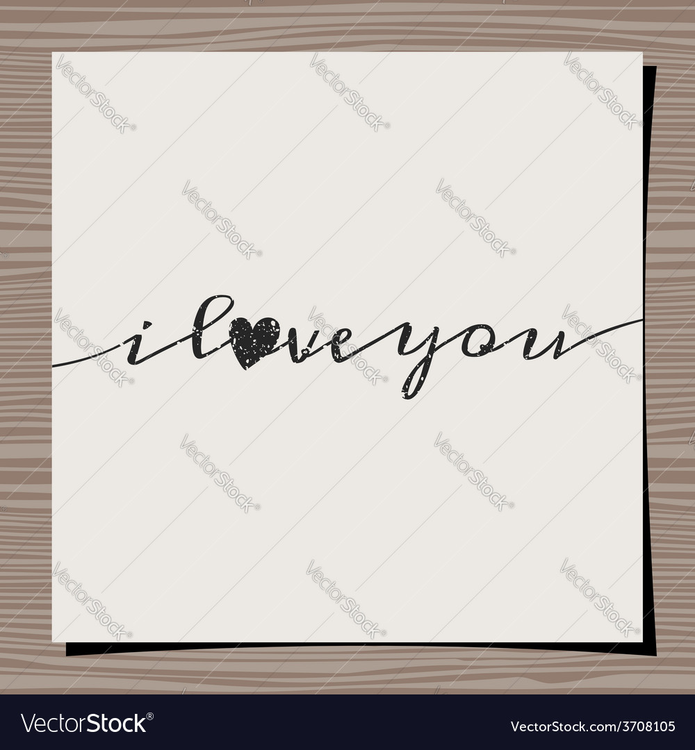 I love you vintage text design paper on wood