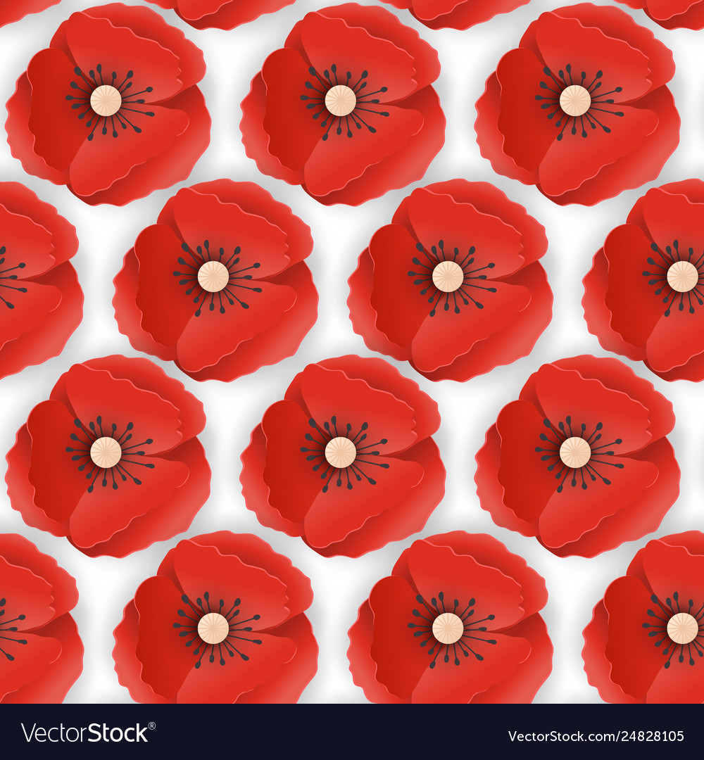 Memorial day seamless pattern with paper cut poppy