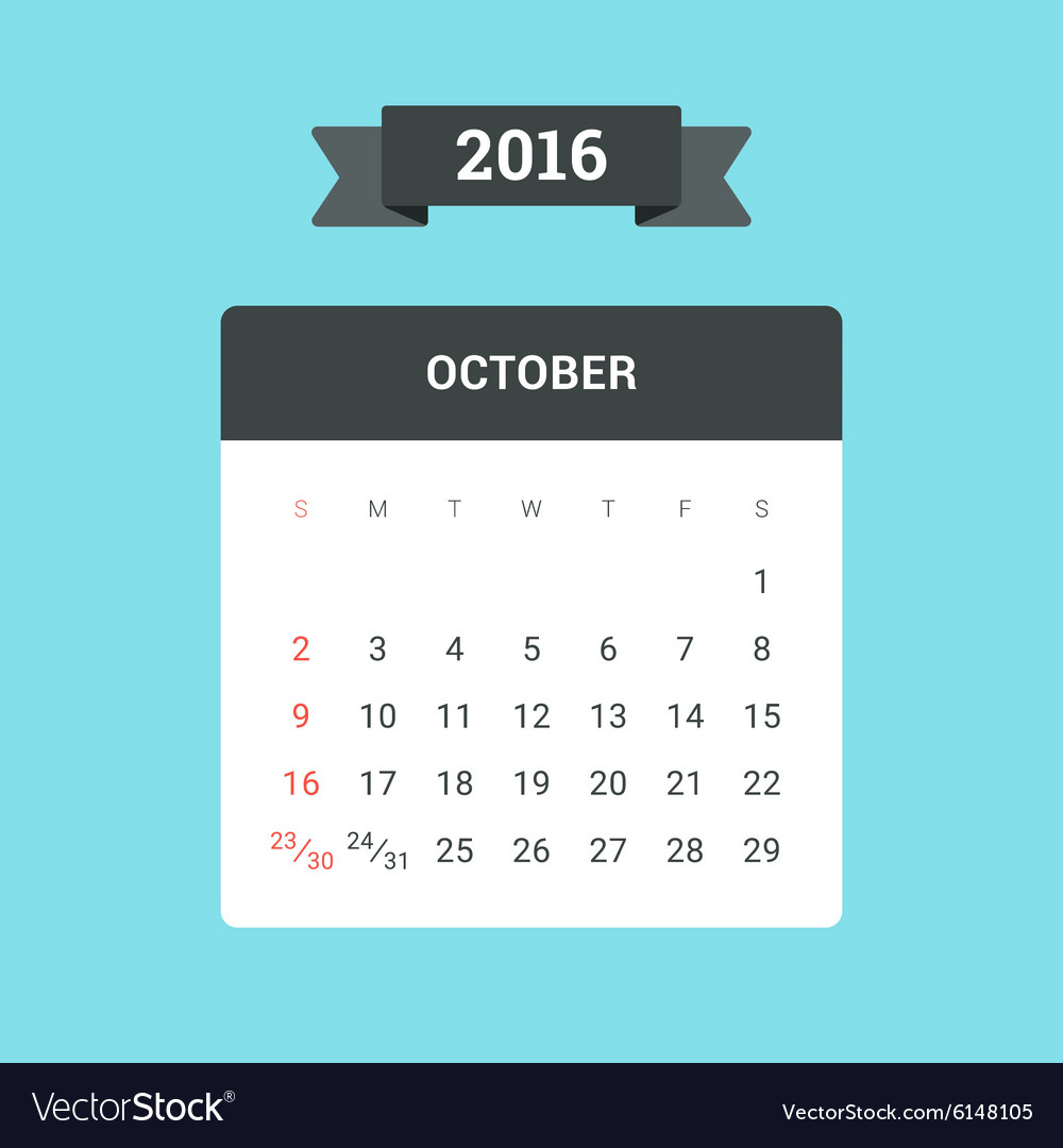October 2016 Calendar vector image