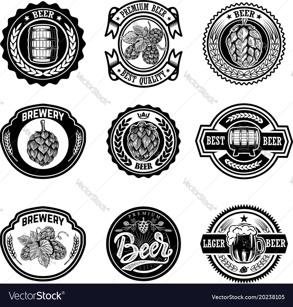 Set vintage beer labels design elements