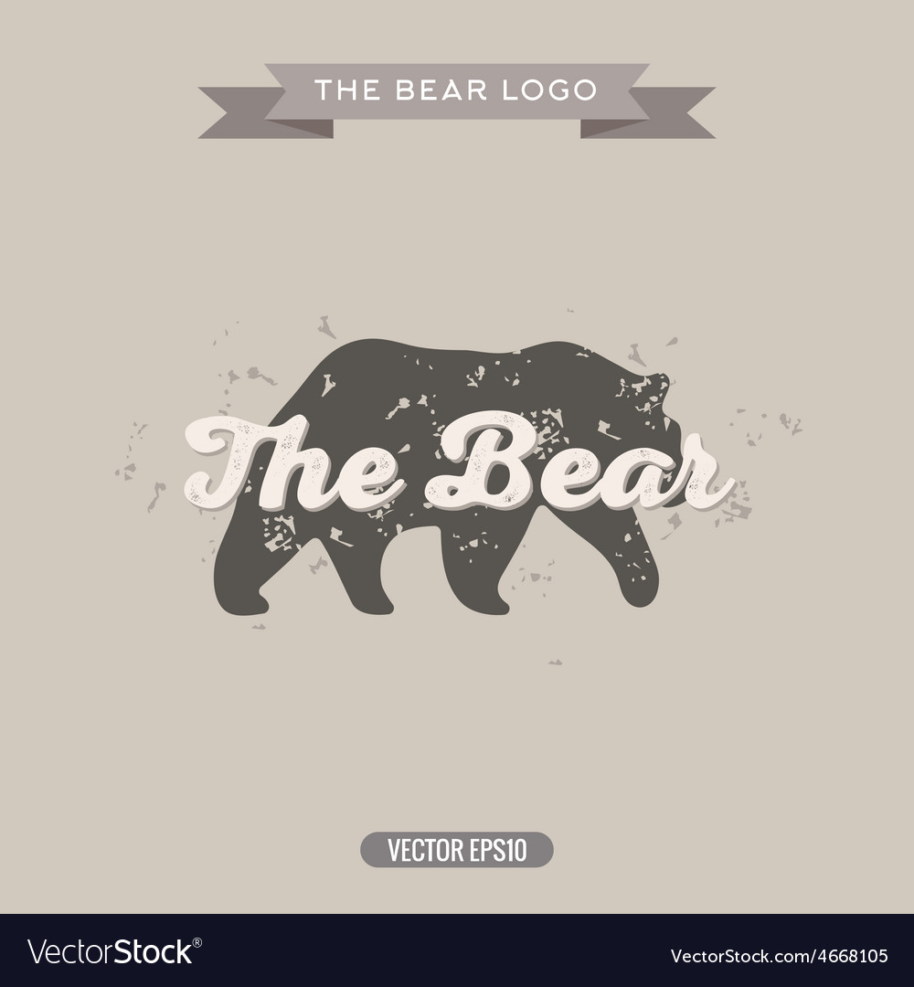 The Bear Vintage trend Logo with Effects Scratches