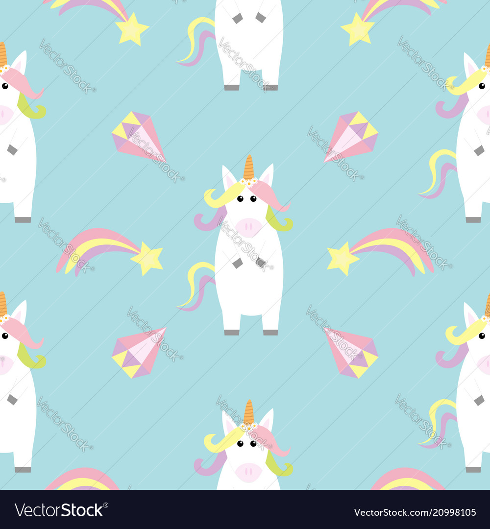 Unicorn standing kawaii head face star comet