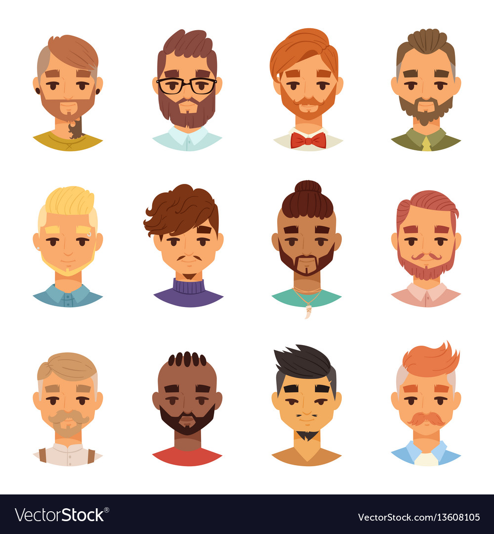 Various expressions bearded man face avatar