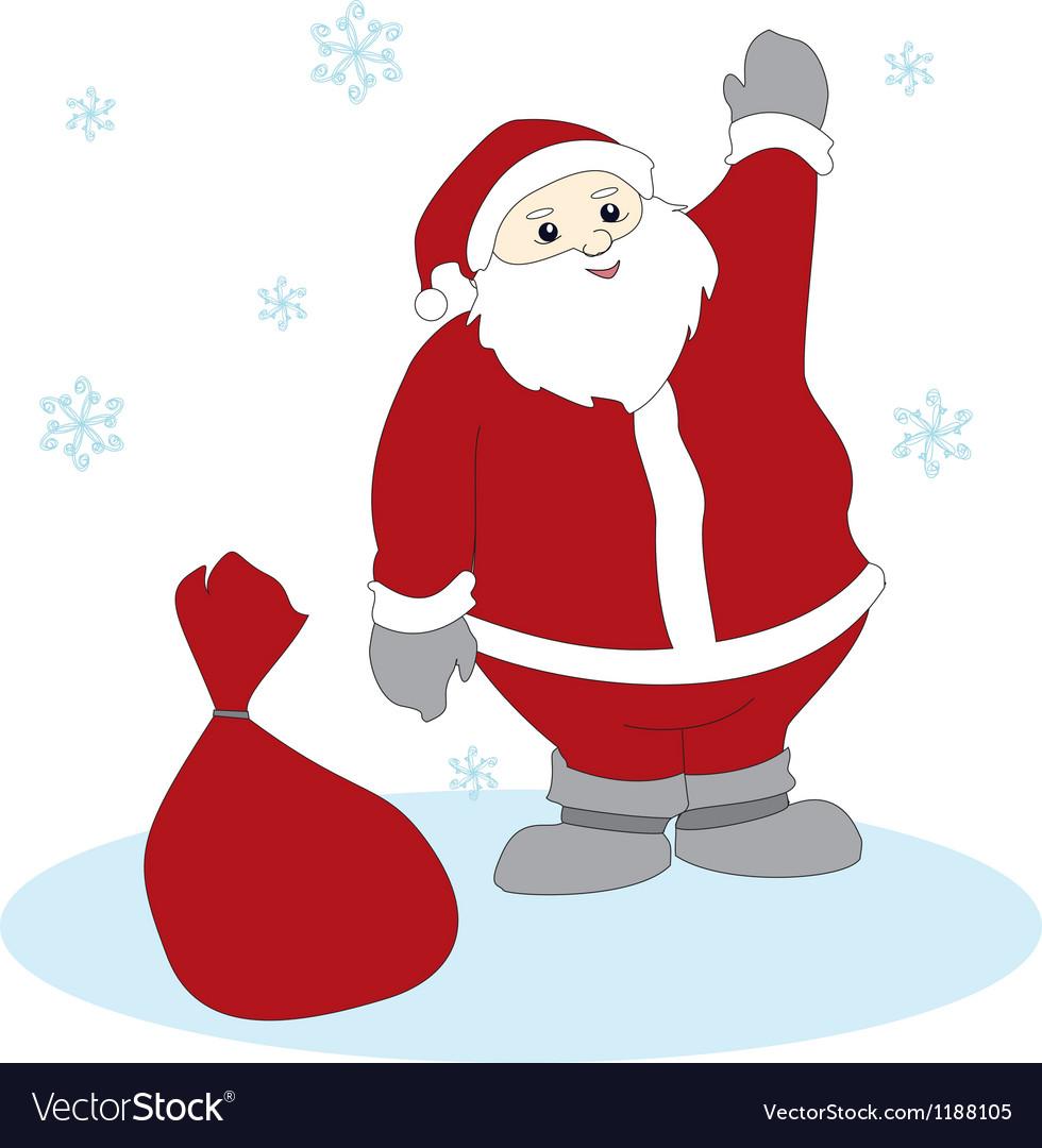 Waving Santa Claus vector image