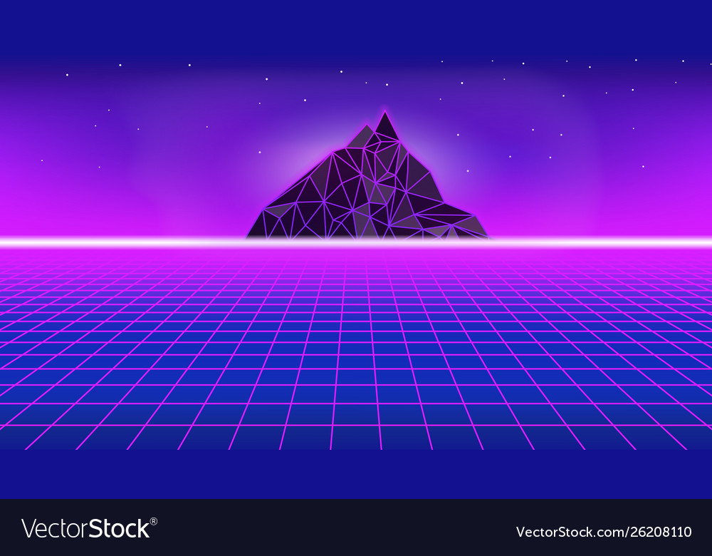 80s style poster with polygon mountain perspectiv